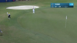 Fantastic finish: Yang rolls it in from off green for 69