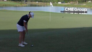 Did she? She did! Masson sinks birdie at the last for 66
