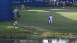 Impossible shot? Not for Hall, who holes walk-off chip at 18