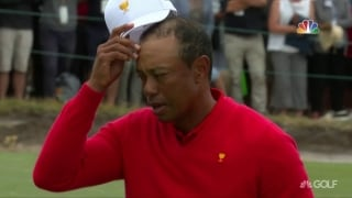 Tiger walks off final putt to win singles match