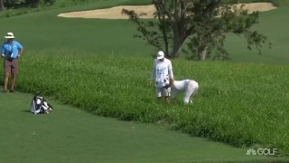 DJ struggles to find huge fairways in Rd. 1 at Kapalua