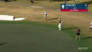Shibuno sinks long birdie putt from off the green