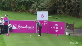 Garcia lands ball in a golf cart on eighth hole in Spain