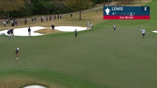 Lewis drains very long putt for birdie on 9th