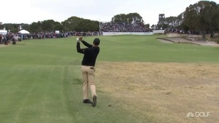 C'mon, Aussie: Scott knocks it close to set up birdie