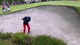 Escape artist: Thomas gets creative from greenside bunker