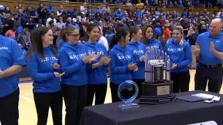 Women's golf recognized at Duke men's basketball game