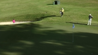 Watch: Marco Steyn holes out from bunker on 16 at East Lake Cup