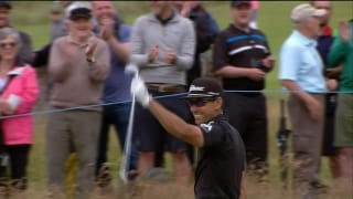 Watch: Cabrera-Bello holes long chip for eagle
