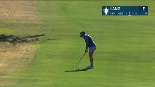 Lang's pitch shot on 11 rolls into water in first round