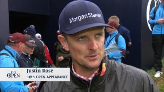 Players react to harsh weather Wednesday at The Open