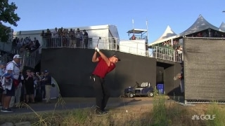 Watch: DeChambeau hits over grandstands (twice) en route to par