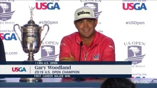 Gary Woodland talks to the media after winning U.S. Open