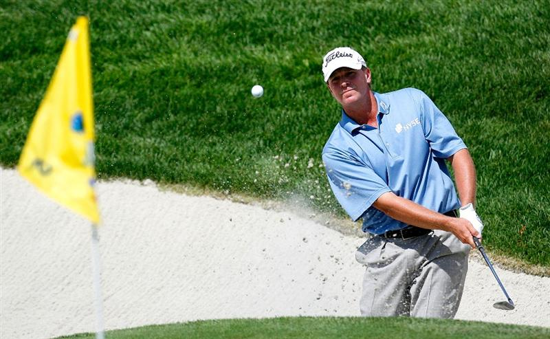 JERSEY CITY, NJ - AUGUST 27:  Steve Stricker chips out of the sand trap around the fifth green during round one at The Barclays on August 27, 2009 at Liberty National in Jersey City, New Jersey.  (Photo by Kevin C. Cox/Getty Images)