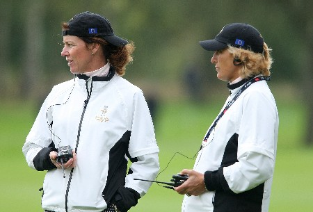 HALMSTAD, SWEDEN - SEPTEMBER 12:  European Team Captain Helen Alfredsson and Vice Captain Marie-Laure de Lorenzi watch the play during practice prior to the start of the Solheim Cup at Halmstad Golf Club on September 12, 2007 in Halmstad, Sweden.  (Photo by Andy Lyons/Getty Images)