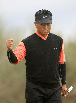 MARANA, AZ - FEBRUARY 22:  K.J. Choi of South Korea celebrates his birdie putt on the first hole during the third round matches of the WGC-Accenture Match Play Championship at The Gallery at Dove Mountain on February 22, 2008 in Marana, Arizona.  (Photo by Scott Halleran/Getty Images)
