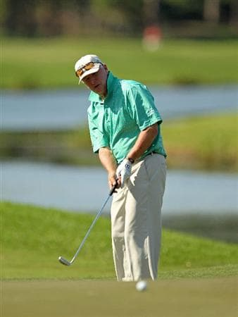LUTZ, FL - APRIL 15: Tom Jenkins putts on the 15th hole during the first round of the Outback Steakhouse Pro-Am at the TPC of Tampa on April 15, 2011 in Lutz, Florida.  (Photo by Mike Ehrmann/Getty Images)