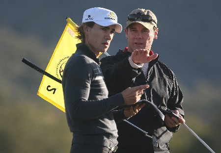 MARANA, AZ - FEBRUARY 19:  Camilo Villegas of Colombia chats with his caddie Gary Matthews during a practice round prior to the start of the Accenture Match Play Championship at The Gallery Golf Club at Dove Mountain on February 19, 2008 in Marana, Arizona.  (Photo by Scott Halleran/Getty Images)