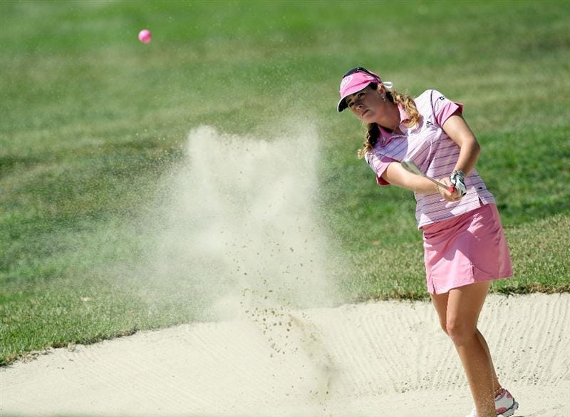 LA JOLLA, CA - SEPTEMBER 20:  Paula Creamer hits out of the 6th green bunker during the final round of the LPGA Samsung World Championship on September 20, 2009 at Torrey Pines Golf Course in La Jolla, California.  (Photo By Donald Miralle/Getty Images)