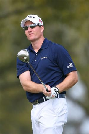 BROUSSARD, LA - MARCH 27: Garth Mulroy of South Africa hits his tee shot on the 14th hole during the third round of the Chitimacha Louisiana Open at Le Triomphe Country Club on March 27, 2010 in Broussard, Louisiana. (Photo by Hunter Martin/Getty Images)