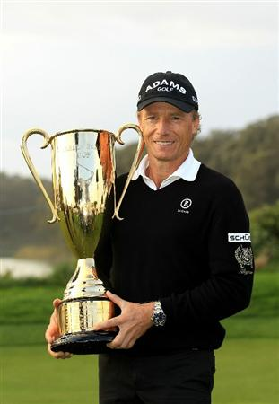 SAN FRANCISCO - NOVEMBER 07:  Bernhard Langer of Germany holds his trophy after being awarded the 2010 Charles Schwab Cup Champion following the Charles Schwab Cup Championhip at Harding Park Golf Course on November 7, 2010 in San Francisco, California.  (Photo by Ezra Shaw/Getty Images)