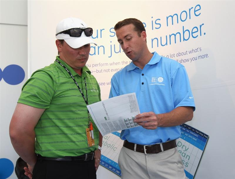 ORLANDO, FL - MARCH 23:  A guest is shown body analysis printout during the GE official annoucement as a marketing partner with the PGA TOUR at Bay Hill Club and Lodge on March 23, 2011 in Orlando, Florida.  (Photo by Sam Greenwood/Getty Images)