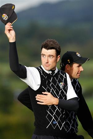 NEWPORT, WALES - OCTOBER 03:  Ross Fisher (L) and Padraig Harrington of Europe celebrate winning their match on the 17th green during the Fourball & Foursome Matches during the 2010 Ryder Cup at the Celtic Manor Resort on October 3, 2010 in Newport, Wales.  (Photo by Sam Greenwood/Getty Images)