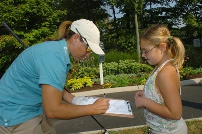 Karen Stupples signs an autograph during the Pro-Am prior to the 2006 Wendy's Championship for Children held at Tartan Fields Golf Club in Dublin, Ohio on August 23, 2006.Photo by Steve Grayson/WireImage.com