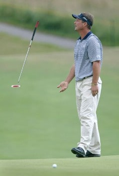 Jim McGovern is unhappy with his putt during the third round of the 2005 National Mining Association Pete Dye Classic at the Pete Dye Golf Club in Bridgeport, West Virginia on Saturday, July 9th, 2005.Photo by Hunter Martin/WireImage.com