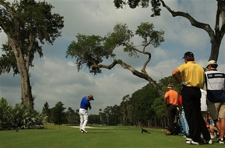PONTE VEDRA BEACH, FL - MAY 09:  Luke Donald of England hits his tee shot on the sixth hole during the second round of THE PLAYERS Championship on THE PLAYERS Stadium Course at TPC Sawgrass on May 9, 2008 in Ponte Vedra Beach, Florida.  (Photo by Richard Heathcote/Getty Images)