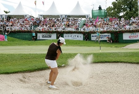EVIAN, FRANCE - JULY 29:  Jeong Jang of South Korea hits her third shot on the 18th hole of regulation during the final round of The Evian Masters on July 29, 2007 in Evian, France.  (Photo by Andy Lyons/Getty Images)
