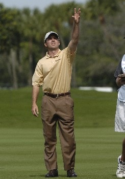 Mike Weir checks the wind  during  final-round competition March 6, 2005  at the Ford Championship at Doral in Miami.