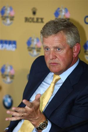 DUBAI, UNITED ARAB EMIRATES - JANUARY 28:  Colin Montgomerie of Scotland attends a press conference to announce his appointment as 2010 Ryder Cup Captain prior to the Dubai Desert Classic on the Majlis Course on January 28, 2009 in Dubai, United Arab Emirates.  (Photo by Ian Walton/Getty Images)