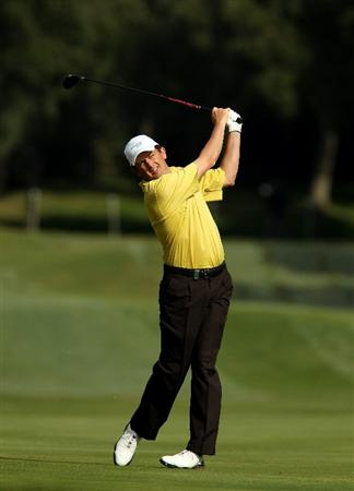 SOTOGRANDE, SPAIN - OCTOBER 28:  Peter Lawrie of Ireland plays into the 7th green during the first round of the Andalucia Valderrama Masters at Club de Golf Valderrama on October 28, 2010 in Sotogrande, Spain.  (Photo by Richard Heathcote/Getty Images)