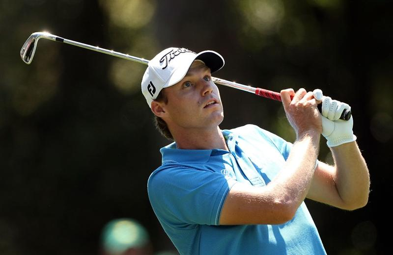 AUGUSTA, GA - APRIL 11:  Nick Watney watches his shot on the first hole during the final round of the 2010 Masters Tournament at Augusta National Golf Club on April 11, 2010 in Augusta, Georgia.  (Photo by Andrew Redington/Getty Images)