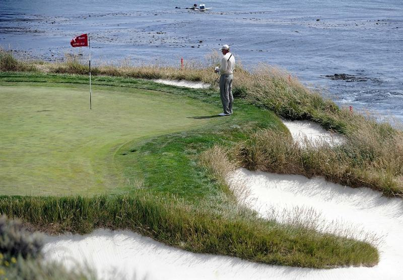 PEBBLE BEACH, CA - JUNE 20:  Ernie Els of South Africa waits on the seventh green during the final round of the 110th U.S. Open at Pebble Beach Golf Links on June 20, 2010 in Pebble Beach, California.  (Photo by Harry How/Getty Images)