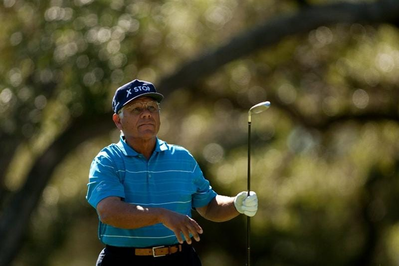 SAN ANTONIO, TX - OCTOBER 29: Lee Trevino watches a tee shot during the first round of the AT&T Championship at Oak Hills Country Club on October 29, 2010 in San Antonio, Texas. (Photo by Darren Carroll/Getty Images)