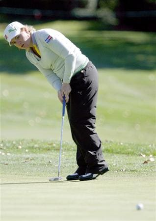 DANVILLE, CA - OCTOBER 10: Mikaela Parmlid of Sweden leans as she watches a putt on the 10th hole during the second round of the LPGA Longs Drugs Challenge at the Blackhawk Country Club October 10, 2008 in Danville, California. (Photo by Max Morse/Getty Images)