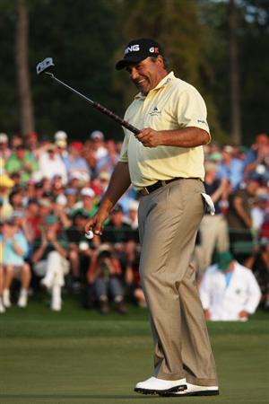 AUGUSTA, GA - APRIL 12:  Angel Cabrera of Argentina celebrates his par-saving putt on the first sudden death playoff hole during the final round of the 2009 Masters Tournament at Augusta National Golf Club on April 12, 2009 in Augusta, Georgia.  (Photo by Andrew Redington/Getty Images)