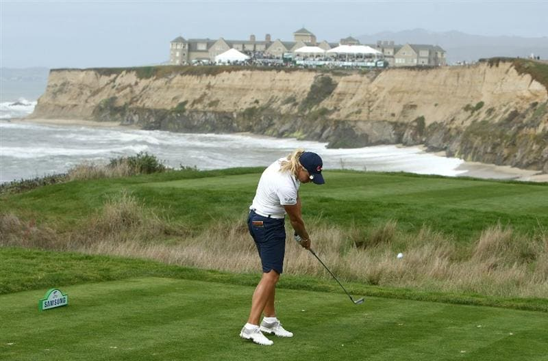 HALF MOON BAY, CA - OCTOBER 05:  Suzann Pettersen tees off on the 17th hole during the final round of the Samsung World Championship at the Half Moon Bay Golf Links Ocean Course on October 5, 2008 in Half Moon Bay, California.  (Photo by Jonathan Ferrey/Getty Images)