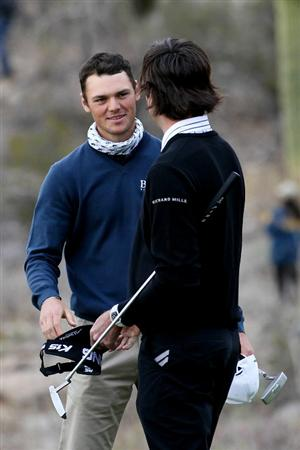 MARANA, AZ - FEBRUARY 26:  Bubba Watson (R) congratulates Martin Kaymer of Germany on his win on the 18th hole during the semifinal round of the Accenture Match Play Championship at the Ritz-Carlton Golf Club on February 26, 2011 in Marana, Arizona.  (Photo by Sam Greenwood/Getty Images)