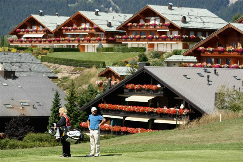 CRANS, SWITZERLAND - SEPTEMBER 02:  Robert Coles of England waits on the 14th hole during the first round of The Omega European Masters at Crans-Sur-Sierre Golf Club on September 2, 2010 in Crans Montana, Switzerland.  (Photo by Warren Little/Getty Images)