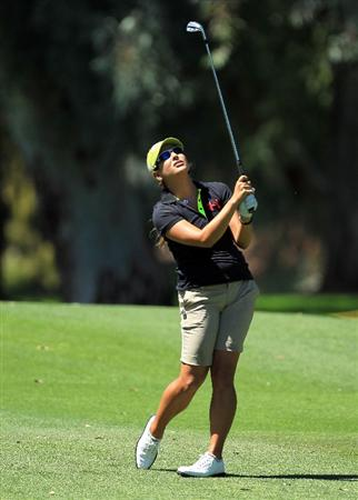 RANCHO MIRAGE, CA - MARCH 31: Mariajo Uribe of Colombia plays her third shot on the 9th hole during the first round of the 2011 Kraft Nabisco Championship on the Dinah Shore Championship Course at the Mission Hills Country Club on March 31, 2011 in Rancho Mirage, California.  (Photo by David Cannon/Getty Images)