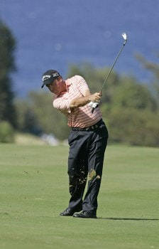 Olin Browne takes a shot on the fourth fairway during the third round of the PGA TOUR's Mercedes Open, January 7, 2006 at the Plantation Course on Kapalua Resort in Kapalua, Maui, Hawaii.Photo by Marco Garcia/PGA TOUR/WireImage.com