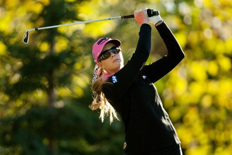 DANVILLE, CA - OCTOBER 15: Paula Creamer follows through on a tee shot during the second round of the CVS/Pharmacy LPGA Challenge at Blackhawk Country Club on October 15, 2010 in Danville, California. (Photo by Darren Carroll/Getty Images)