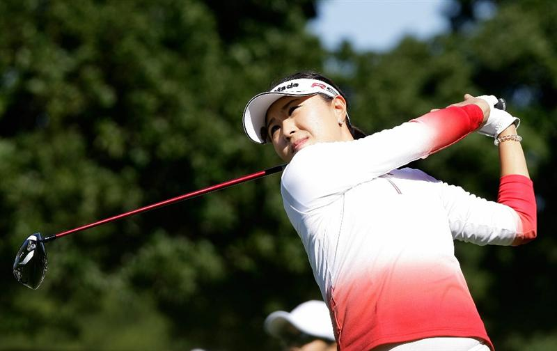 SHIMA, JAPAN - NOVEMBER 05:  Bo-Bae Song plays a shot on the 9th hole during round one of the Mizuno Classic at Kintetsu Kashikojima Country Club on November 5, 2010 in Shima, Japan.  (Photo by Chung Sung-Jun/Getty Images)