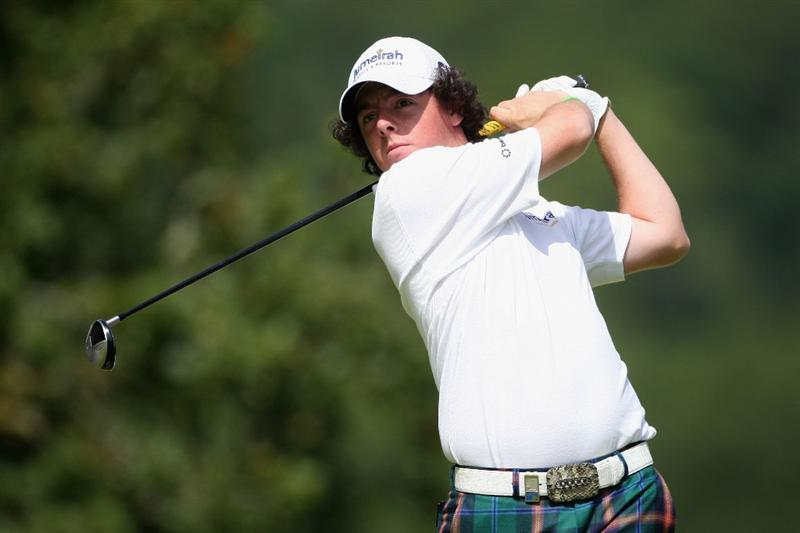 LUSS, UNITED KINGDOM - JULY 11:  Rory McIlroy of Northern Ireland tees off during the Third Round of The Barclays Scottish Open at Loch Lomond Golf Club on July 11, 2009 in Luss, Scotland. (Photo by Andrew Redington/Getty Images)