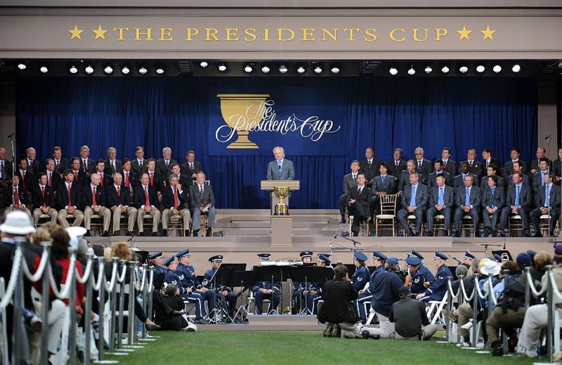 SAN FRANCISCO - OCTOBER 07:  International Team Captain Greg Norman speaks during Opening Ceremony of The Presidents Cup at Harding Park Golf Course on October 7, 2009 in San Francisco, California.  (Photo by Harry How/Getty Images)