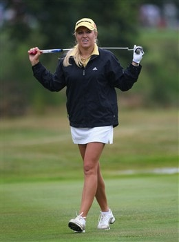 SUNNINGDALE, UNITED KINGDOM - JULY 29:  Natalie Gulbis of the USA approaches thje 18th green during the Pro-Am prior to the start of the Ricoh Women's British Open at Sunningdale Golf Club on July 29, 2008 in Sunningdale, England  (Photo by Andrew Redington/Getty Images)