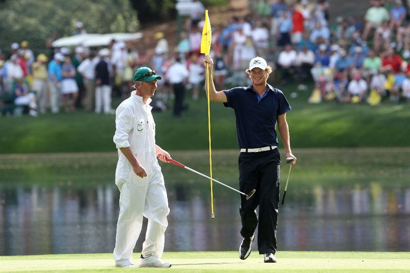 AUGUSTA, GA - APRIL 07:  Chris Wood of England (R) smiles with his caddie/father during the Par 3 Contest prior to the 2010 Masters Tournament at Augusta National Golf Club on April 7, 2010 in Augusta, Georgia.  (Photo by Andrew Redington/Getty Images)